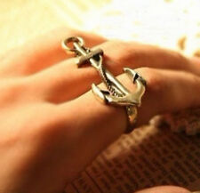 Vintage Style Punk Anchor Nautical Two Fingers Double Rings