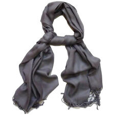 100% CASHMERE DARK GRAY SCARF VERY SOFT MADE IN SCOTLAND MENS WOMENS UNISEX S#6