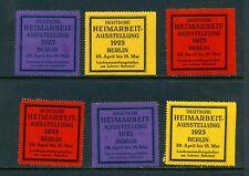 6 VINTAGE 1925 HEIMARBEIT-AUSSTELLUNG EXPO POSTER STAMPS (L708) BERLIN GERMANY