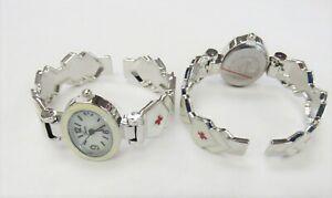 Geneva Wrist Watch NURSE Themed Bangle Bracelet Cuff Watch Nurse RN EMT Gift