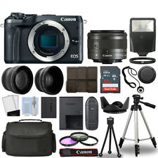 Canon EOS M6 Camera Body Black + 3 Lens Kit 15-45mm IS STM + 32GB + Flash & More