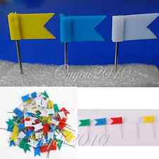 100x 5-Colour Flag Push Pins Office Home School Supplies Cork Board Map Drawing