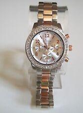 Geneva bracelet silver/rose gold finish rhinestone fashion boyfriend wrist watch