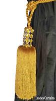 Gold Crystal Bead Top Window Curtain Drapery Tassel Rope/Cord Tie Back Holdback