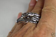 Silver 3-D Eagle Biker Sz 11 Vintage Large Mens Mans Ring Sterling