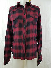 Red Black Long Sleeve Front Pockets Button Front Plaid Top Shirt Medium M NWT