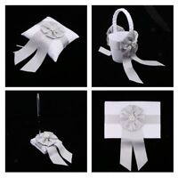 Wedding Satin Bowknot Flower Basket Ring Pillow Guest Book and Pen Set Decor