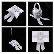 Wedding Satin Bowknot Flower Basket Ring Pillow Guest Book and Pen Set Decor