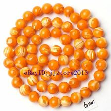 """6mm Natural Gold Color Shell MOP Round Shape Gemstone Loose Beads Strand 15"""""""
