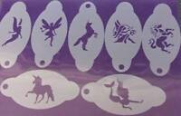 Fairy & unicorn & mermaid face paint stencils reusable (7 different designs)