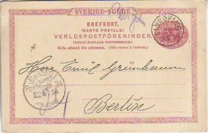 SWEDEN. 1894/Linkoping, PS card/to Berlin.