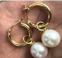 14K GOLD 7-8mm perfect  white Australia south sea pearl dangle earring