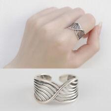 Damen Ring Welle echt Sterlingsilber 925 Ausgehöhlt antik optik breit offen