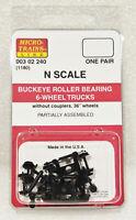 Micro-Trains 00302240 N (1180) Black Buckeye Roller Bearing 6-Wheel Trucks. New
