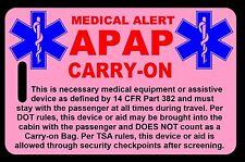 Pink Carry-On APAP  Bag Tag - TSA - CPAP BiPAP APNEA POC