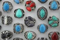 New Job Lots 6pcs Turquoise stone Huge Fashion Women/men Top rings Jewelrry