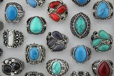 New Job Lots 6pcs Turquoise stone Huge Fashion Women/men Top rings Jewelrry