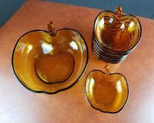 8 Bowl Serving Set Apple Design Amber Thanksgiving dessert breakfast holiday