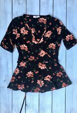 Oasis Black Pink Rose Floral Wrap Look Peplum Jersey Top S / 10 - B22