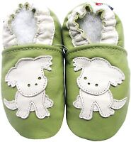 carozoo puppy green 6-12m soft sole leather baby shoes