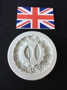 Leaves Rose Frame Silicone Icing Mould Baking Cake Decoration
