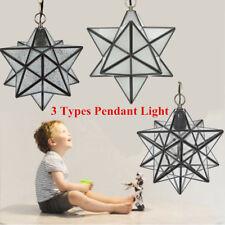 Modern Star Pendant Light Metal Glass Shade 30cm Hanging Lamp Fixture Chandeler