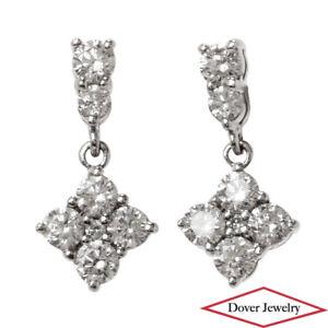 Estate Diamond 18K Gold Dainty Small Geometric Dangle Drop Earrings NR