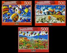 Lot of 3 ~ NEW Jigsaw Puzzles by Puzzlebug Poppy Fields Hot Air Balloons NIB