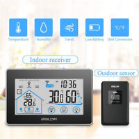 EE_ Indoor Outdoor Touch Screen Wireless Hygrometer Thermometer Hanging Clock My
