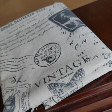 Vintage Letter Linen Fabric for tablecloth DIY Zakka Pillow Blind Apron 50x150cm