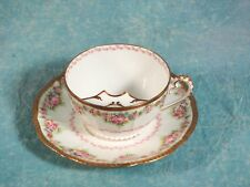 ANTIQUE Victorian LIMOGES Elite Mustache  Cup Saucer Gold Pink Flowers France