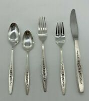 Vtg International Deep Silver Laurel Mist Cutlery Flatware 5 Piece Place Setting