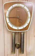 HERMLE Wall Pendulum Chime Clock Germany Mid Century Danish Modern