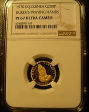 Equatorial Guinea 1970 Gold 250 Pesetas NGC PF-67UC Durer's Praying Hands