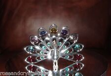 PEACOCK~ SILVER PLATED FIGURINE WITH BEST~*~AUSTRIAN CRYSTALS~*~NEW