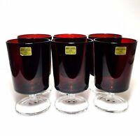 6 Vintage Arcoroc France Stemware Ruby Red Pedestal Glass Goblet Wine 8 oz NEW