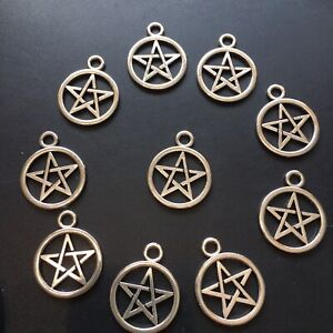 Pentagrams Charms X10  20mm  Silver Small Wiccan Pagan Pendants New