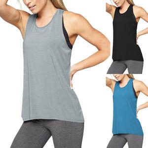 Womens Yoga Tank Tops Ladies Active Gym Sleeveless Racerback Sport Shirt Top NEW