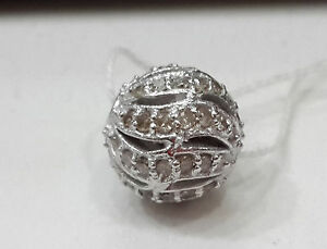 Sterling Silver Designer Ball With Natural Fine Diamond Non-treated Single Cut