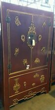 X Display Oriental Chinese 2 Door Cabinet  in Solid antique Red  ORP $2800