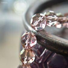 4 Rose Water - Czech Glass Beads, Transparent Topaz, Pink, Round Beads 12mm
