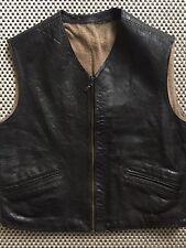 Vintage Horsehide Biker Vest Leather Waistcoat Wool Lining 50's Era Size M
