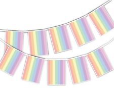 Gay Pride Pastel Rainbow Rectangular Flags Coloured Bunting Banner Month Pride