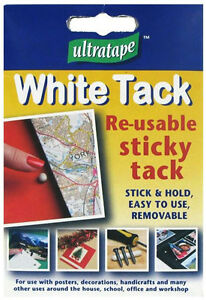 ULTRATAPE WHITE TACK RE-USABLE STICKY ADHESIVE PUTTY HANDY SIZE POSTERS