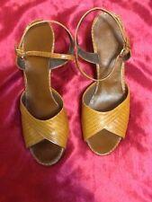 True Vtg 1965 to 1970 Brown Lizard Skin Peep Toe Sz. 8.5 N High Heel Shoes