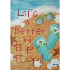 """LIFE IS BETTER IN FLIP FLOPS BEACH SHELLS SUMMER YARD GARDEN FLAG 12.5"""" X 18"""""""
