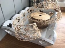 Hessian Wired Ribbon Vintage Style Lace, Wedding, Craft , Trim,Card Making 1Mtr