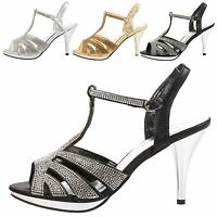 WOMENS SANDALS LADIES DIAMANTE BRIDAL WEDDING PARTY PROM SHOES OPEN TOE SIZE NEW