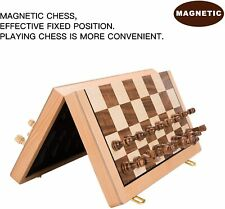 15x15 Folding Magnetic Wooden Standard Chess Game Board Set with Wooden Crafted Pieces and Chessmen Storage Slots AMEROUS Chess Set
