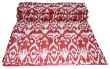 Indian Embroidery Kantha Quilt Bedspread Ikat Print Throw Cotton Red